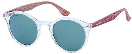 SQUAD - Gafas de sol para mujeres y hombres,forma redonda y lentes verde transparente, AS61101C (C1)