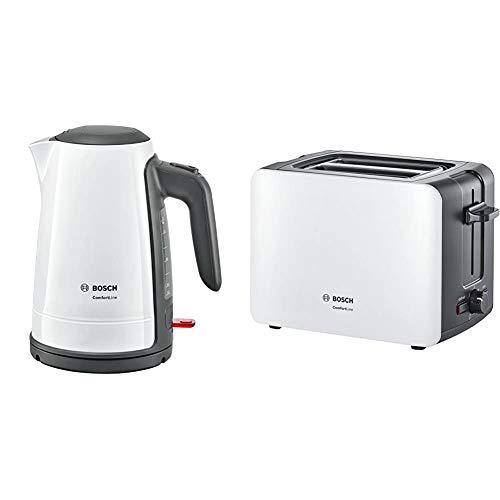 Bosch TWK6A011 Wasserkocher ComfortLine, 1-Tassen-Funktion, Dampfstopp-Automatik, entnehmen Kalkfilter, 2400 W, weiß/dunkelgrau & Bosch TAT6A111 Kompakt-Toaster ComfortLine, weiß/dunkelgrau