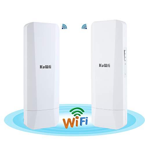 KuWFi 2-Pack 900Mbps 5.8G Outdoor Wireless Bridge Long Range Point to Point Transmitter Distance WiFi Transmitter 14DBi High Gain Antenna with Gigabit RJ45 Port IP65 Waterproof