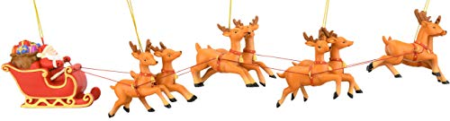 Tree Buddees Large 5 Piece Hand Painted Full Santa's Sleigh and 8 Reindeer Christmas Ornaments Set - 17.5 Inches Long