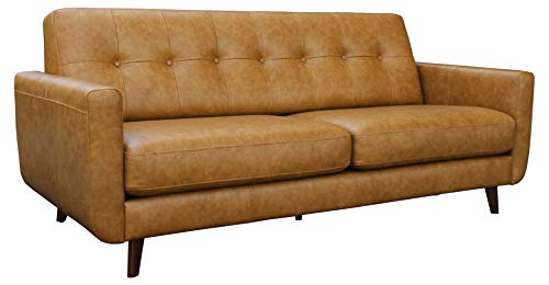 "Amazon Brand – Rivet Sloane Mid-Century Modern Leather Sofa Couch, 79.9""W, Caramel"