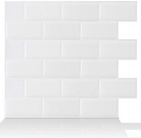 Tic Tac Tiles Peel CHPS et bouchon Carreaux muraux dans la conception du métro 10 10' x 10' métro Blanc