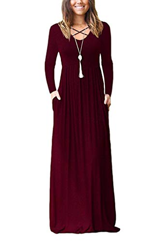 LILBETTER Women Long Sleeve Loose Plain Maxi Pockets Dresses Casual Long Dresses (Wine Red, XX-Large)