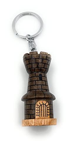 Onwomania - '-Ritterburg Burg Mittelalter Schlüsselanhänger - Holz Glücksbringer ideal als Geschenk z.B. für den besten Freund, die beste Freundin, Mama - Für Männer, Frauen & Kinder