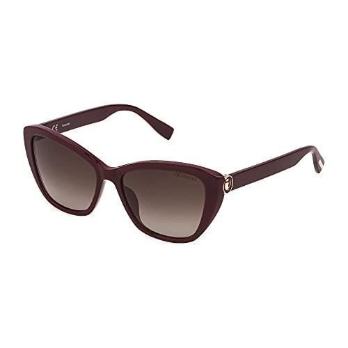Trussardi Gafas de sol STR474 09FH 56 – 16 – 140 para mujer, burdeos, acabado brillante, lentes marrón degradado