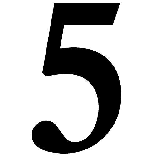Zahlen-Aufkleber Nr. 5 in schwarz I Höhe 10 cm I selbstklebende Haus-Nummer, Ziffer zum Aufkleben für Außen, Briefkasten, Tür I wetterfest I kfz_471_5