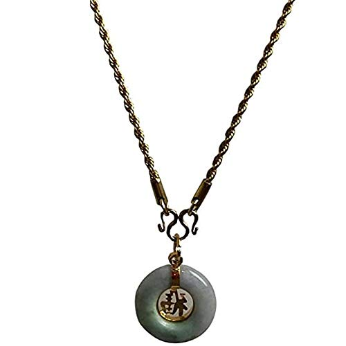 Natural Carved Round Donut Green Jade Real Good Fortune Pendant Jewelry for Women Charms with Necklace Stainless Laser Gold Success Promote Very Luckily Love Wealth and Healthy