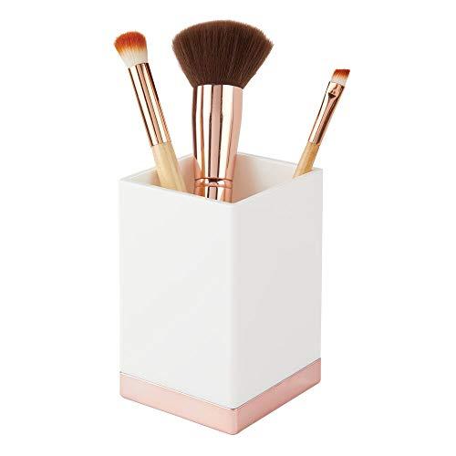 mDesign dekorativer Zahnputzbecher aus BPA-freiem Kunststoff – Zahnbürstenhalter für Badzubehör – Becher für Rasierer oder zur Kosmetikaufbewahrung – weiß und roségold
