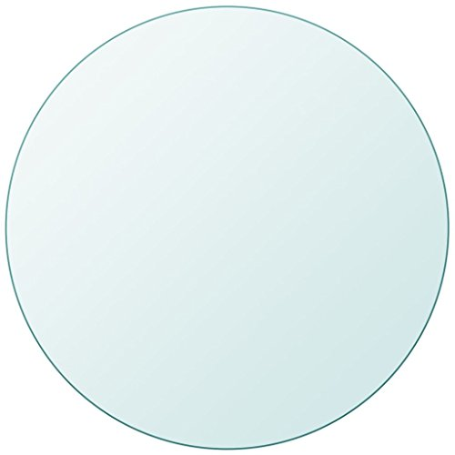 Fesjoy Tablero de Mesa de Cristal Templado Redondo 400 mm 8 mm