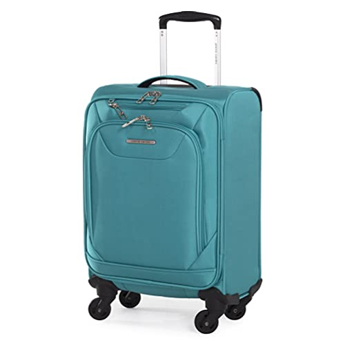 Soft Sided 55cm Suitcase with Spinner Wheels - KLM Air France Cabin Approved Luggage by Pierre Cardin | Fits 55x35x25 Sizing Cage | Light 2.5kg 22' 39L (Small, Teal)
