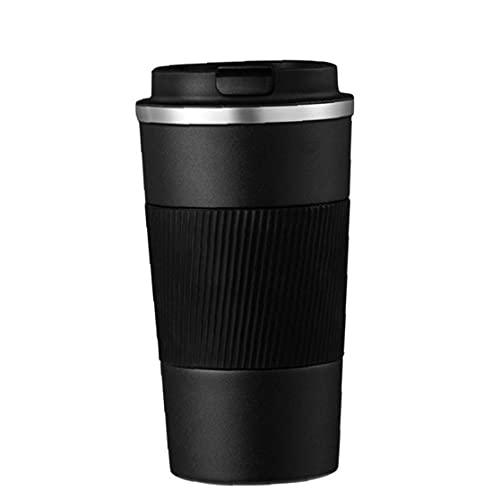 Taza de café aislados taza del viaje de vacío de doble capa de aislamiento térmico de acero inoxidable portátil con tapa a prueba de fugas antideslizante cubre el uso de Hot Bebida fría 380 ml Negro