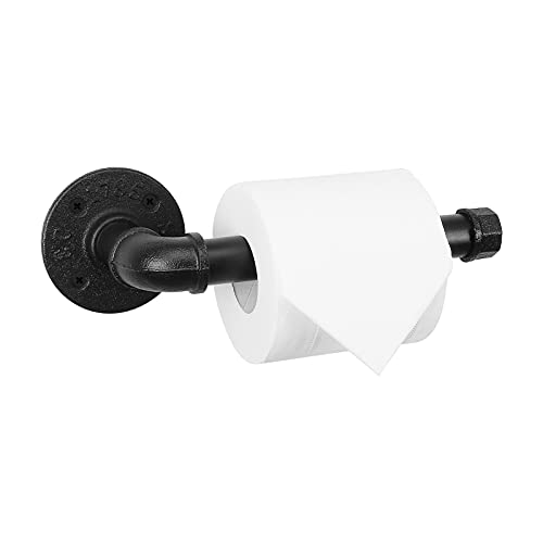 NearMoon Industrial Pipe Toilet Paper Holder, Heavy Duty DIY Toilet Roll Holder for Bathroom, Living Room and Kitchen, Vintage Rustic Iron Style Rust Free Bathroom Hardware, Wall Mounted (Balck)