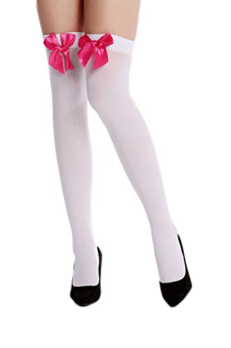 Dress Me Up - WZ-001WR Strümpfe Damenstrümpfe Overknees Stockings Karneval Weiß Pinke Schleifen