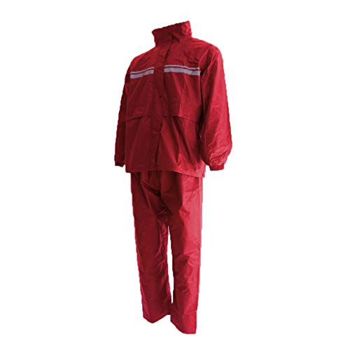Générique Sharplace Ensemble de Veste et Pantalon, Unisexe Tissu Imperméable Moto Offrant Protection Optimale Contre Vent et Pluie, Confortable, Ultra-plat - rouge, XL