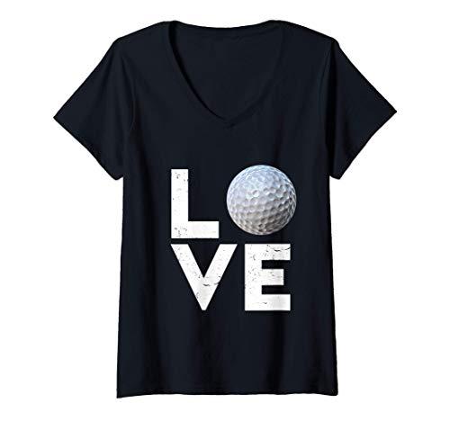 Womens Golfer Golf Love Golf Ball Handicap Gift V-Neck T-Shirt