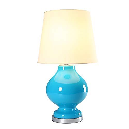 ZWeiD Mediterrane stijl tafellamp, Blauwe Vaas van het Glas Shape Table Lamp Hotel Clubhouse Decoratieve Lampen E27 bediening van knoppen H: 68cm Tafellamp Verlichting tafellamp