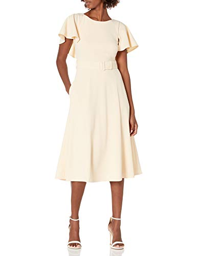 Calvin Klein Women's A-Line Dress with Capelet Sleeve and Self Belt, Shell, 16