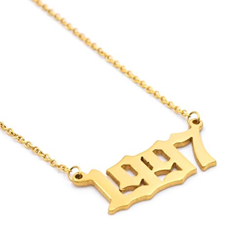 VLINRAS 1997 Necklace Gold Birth Year Necklace Name Necklace Personalized Women Girls Couples Anniversary Birthday Gift