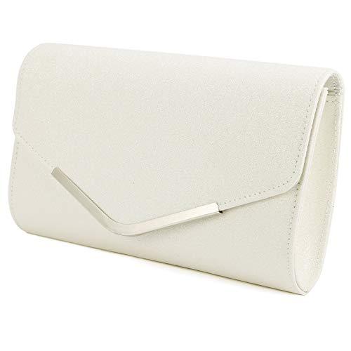 Surepromise Glitzer Umhängetasche Mädchen Tasche Damen Glitter Abendtasche Kette Handtasche für Party Hochzeit (Weiß)