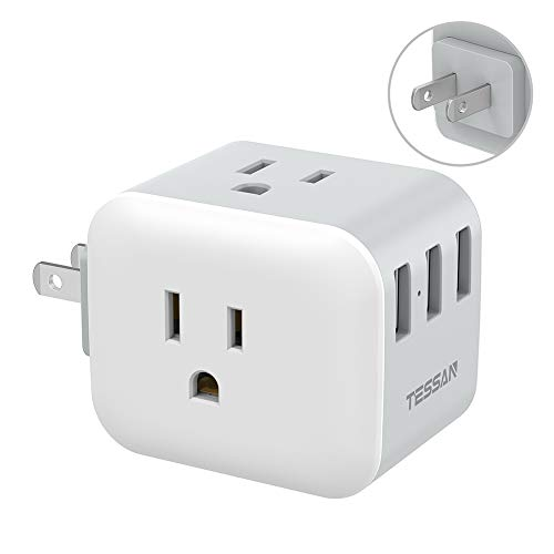 3 Prong to 2 Prong Adapter, TESSAN 2 Prong Multi Plug Outlet Extender, Japan Power Adapter with 3 Electrical Outlets 3 USB Wall Charger, Travel Plug Adaptor for US to Japanese - Type A Plug Splitter