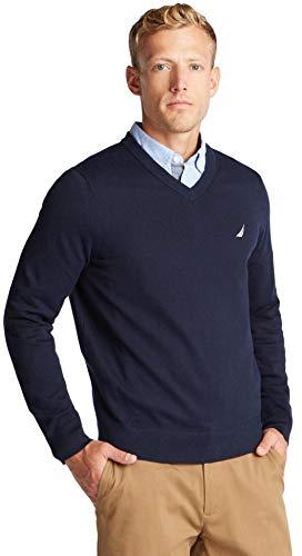 Nautica Men's Classic Fit Soft Lightweight Jersey V-Neck Sweater, Basic Navy, XL