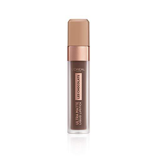L'Oréal Paris Infaillible Ultra Matte Les Chocolats in Nr. 856 70% Yum, Flüssig-Lippenstift mit Ultra-Matt-Finish und Schokoladen-Duft, 8 ml