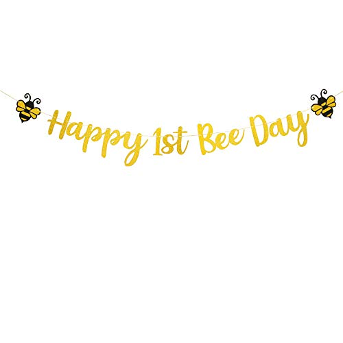 Happy 1st Bee Day Banner,Glitter Gold 1st Birthday Themed Party,One High Chair Sign Boy Girl First Birthday Party Decorations.