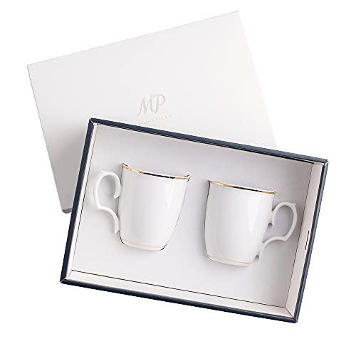 Zestaw 2 kubków, zestaw do kawy i herbaty, kubki porcelanowe, złote zdobienie, polska porcelana, MariaPaula Złota Linia, 360 ml, 2 elementy