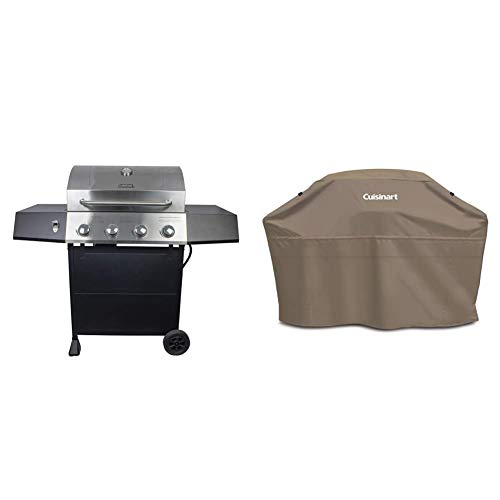"""Cuisinart CGG-7400 Propane, 54 Inch, Full Size Four-Burner Gas Grill & GC-60T Heavy-Duty Barbecue Grill Cover, 60"""", Tan, Cover-60 Grills Propane"""