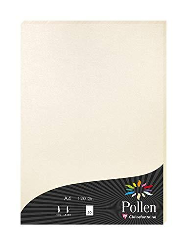 Clairefontaine 24303C Packung mit 50 Blatt Pollen, DIN A4, 210 x 297 mm, 120g, Perlmutt Elfenbein