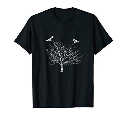 Distressed Tree and Ravens Bird Mythology Pagan t-shirt