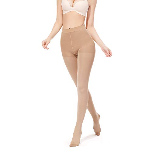 SWOLF Compression Pantyhose Women Men, Closed Toe 20-30 mmHg Graduated Firm Support Compression Stockings Hose - Waist High Edema Moderate Varicose Veins Medical Compression Tights (Beige, Medium)
