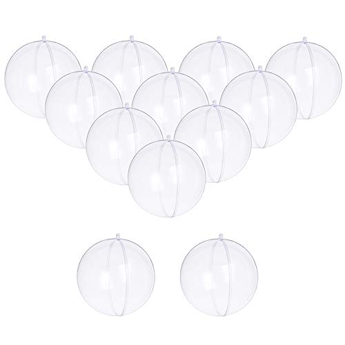 Haawooky Clear Plastic Fillable Ball Ornaments,100mm DIY Craft Acrylic Fillable Balls for Christmas,Wedding,Party Decoration and Bath Bomb Mold Balls,Pack of 12