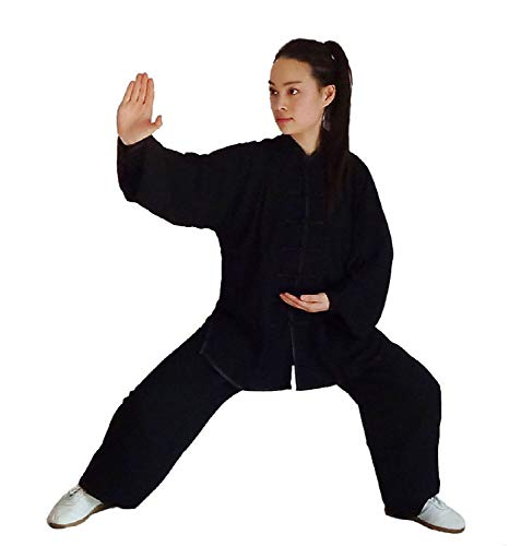 XLYAN Tai Chi Uniforme Artes Marciales Ropa Kung Fu Ropa Algodón Unisex Opcional, XXL-Black