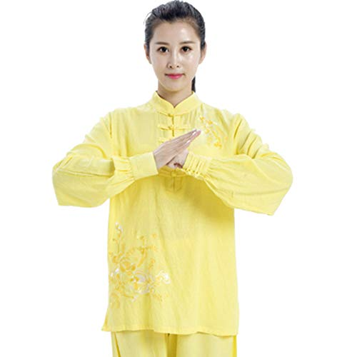 QIQI Yoga Tai Chi Uniform, Frau Traditionelles Kung Fu Kostüm Langarm Meditationstraining Stickerei,Goose Yellow,L