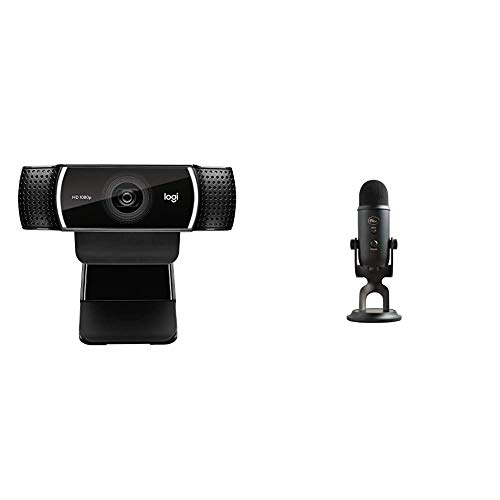 Logitech C922x Pro Stream Webcam & Blue Yeti USB Mic for Recording & Streaming on PC and Mac, 3 Condenser Capsules, 4 Pickup Patterns – Blackout