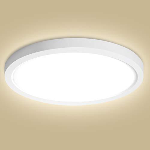 Oeegoo 24W LED plafón de superficie redondo 2040LM lámpara de techo reemplaza bombilla incandescente180W, Φ29*H1.3CM lámpara ultradelgada para Dormitorio, Cocina, Salón. RA>80 4000K Blanco Natural