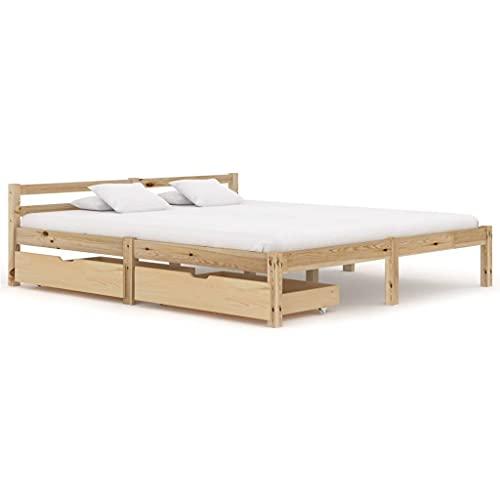 LINWXONGQP Material: Massivt furu, plywood Sängar Sängställ med 2 lådor massivt trä tall 180 x 200 cm