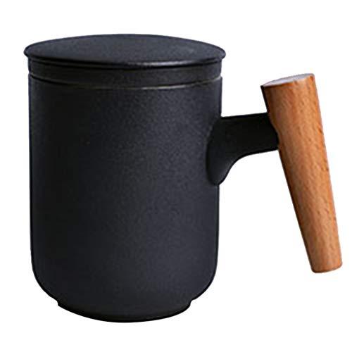 Tasse à café Tasse Céramique avec Couvercle Tasse À Thé Tasse (Color : Black, Size : 8 * 11cm)