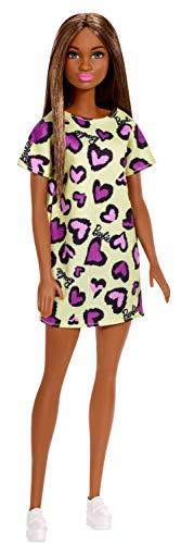 Barbie Muñeca Morena con Vestido Amarillo con Estampado de Corazones (Mattel GHW47)...