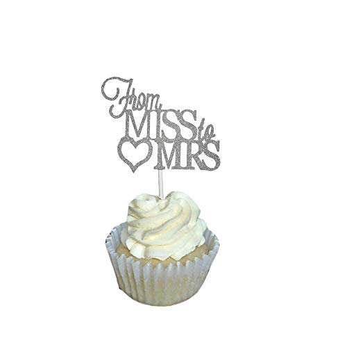 Aisila Pack of 20 Glitter From Miss to Mrs Wedding Cupcake Toppers Silver