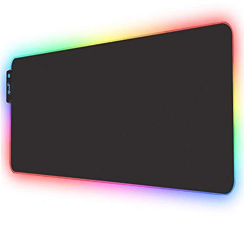 Speed RGB Gaming Mouse Pad, Non-Slip Rubber Base, Soft Glowing 14 LED Modes Gaming Desk Keyboard Pad Mat (Large LED 78x30 cm)