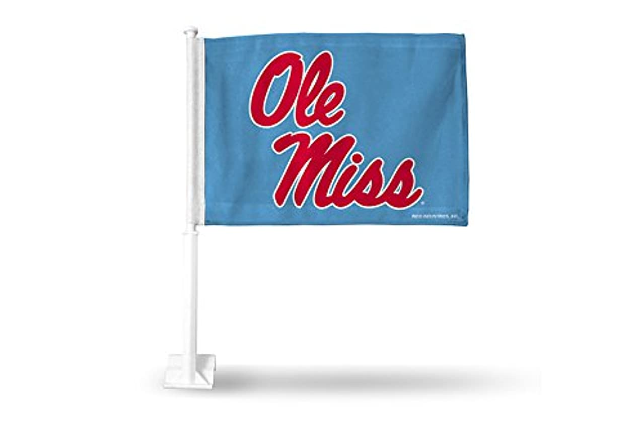 NCAA Mississippi Ole Miss Rebels Car Flag, Light Blue, with Black Pole