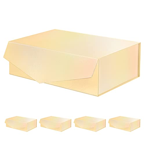 PACKQUEEN 5 Large Gift Boxes 14x9.5x4.5 Inches, Gold Gift Boxes, Bridesmaid Proposal Boxes, Magnetic Gift Boxes with Lids, Sturdy Gift Boxes for Gifts (Holographic Gold with Embossing)