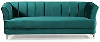 DIVANO ROMA FURNITURE Elegant Classic Living Room Velvet Sofa - Colors Blue, Green, Grey, Red (Green)