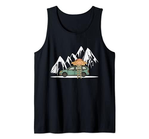 Mini Camper mit Dachzelt in den Bergen - Camping Auto Tank Top