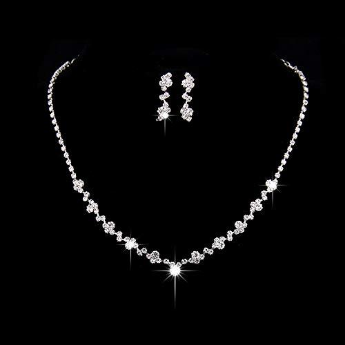 Ushiny Hochzeitsschmuck-Set, Silberfarben, Brautschmuck, Kristall-Halsketten und Ohrringe, Set mit Strass für Damen und Mädchen (425#)