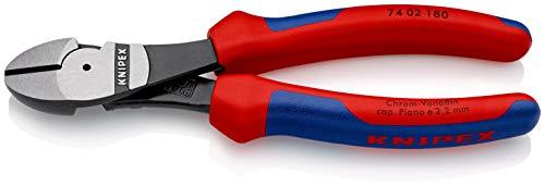 KNIPEX 74 02 180 Alicate de corte diagonal tipo extra fuerte negro atramentado con fundas en dos componentes 180 mm