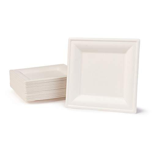 BIOZOYG Vaisselle à Base Bagasse | 50 pièces d'assiettes du Canne de Sucre Blanche carrée décolorée 16x16 cm | Bio jetable Vaisselle, Menu Plats et jetable fête Assiette