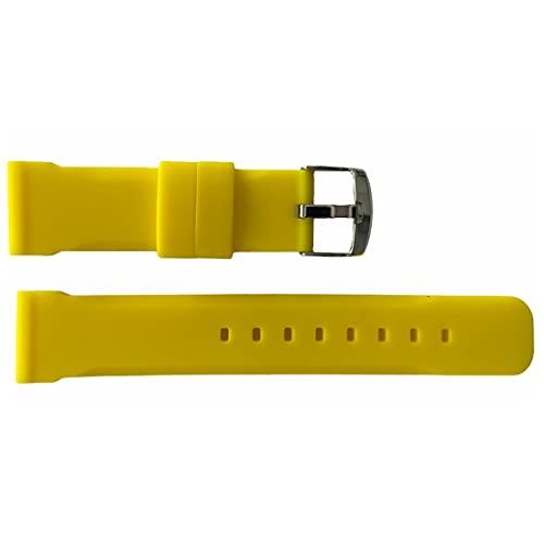 Buzzufy Correa de reloj de silicona amarillo Chrono/banda de 18 mm